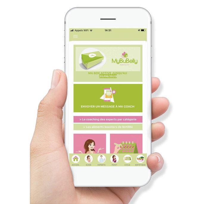 Interface de l'application mobile MyBuBelly Fertility