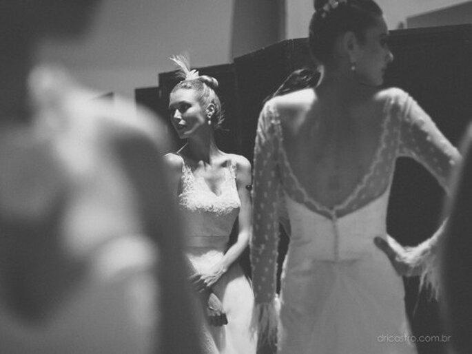 Transparências e romantismo nos vestidos de noiva da Carol Hungria no Bride Style 2013. Foto: Dri Castro