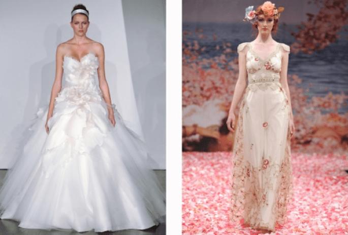 Vestidos de novia con detalles de flores y bordados en relieve - Foto Marchesa y Claire Pettibone
