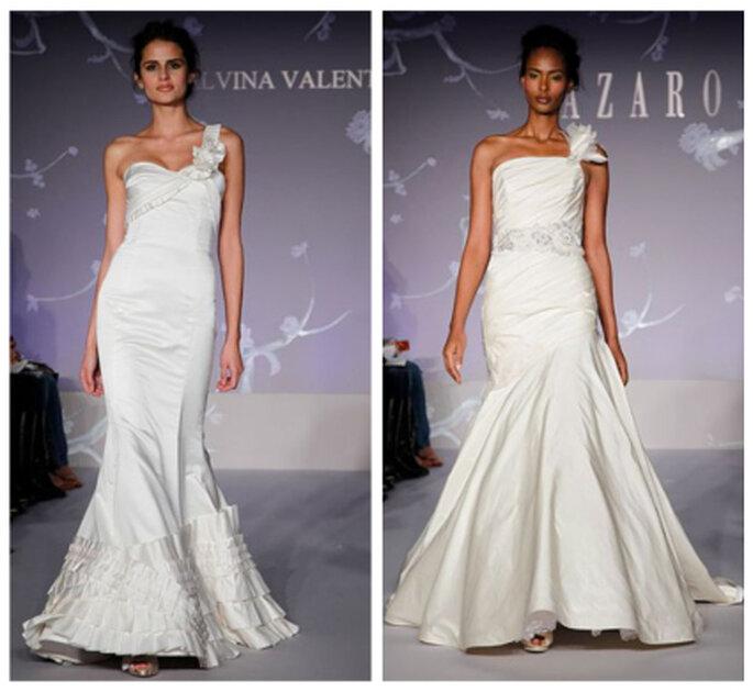 Vestidos de novia con un solo tirante, propuestas de Alvina Valenta y Lazaro 2012