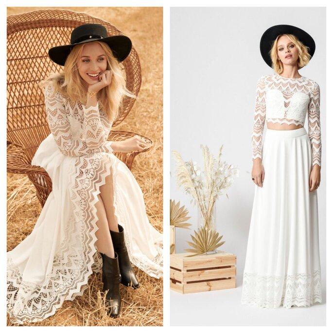 Robe longue en dentelle crop top et jupe