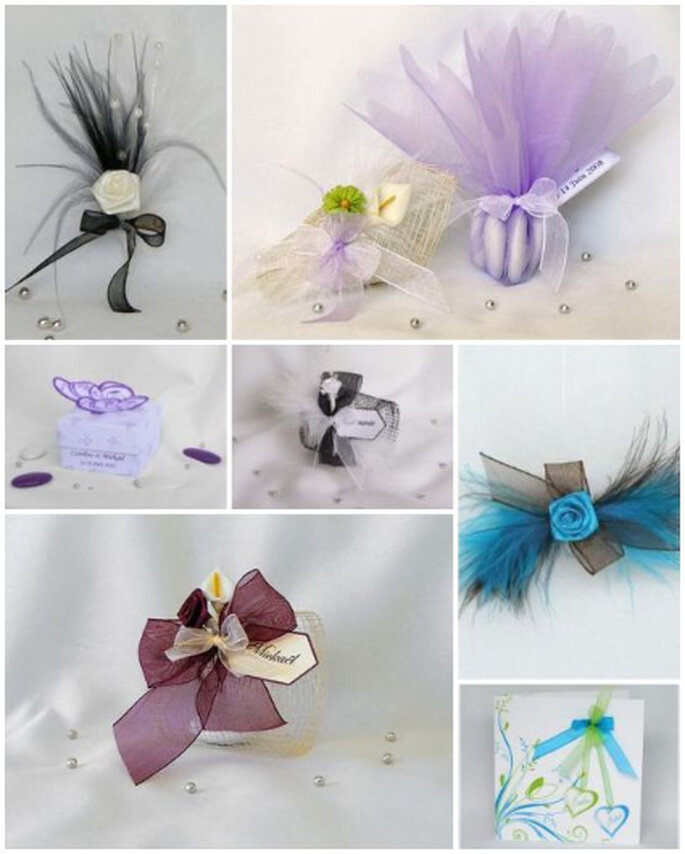 Créations faire-part, boîtes à dragées, boutonnières, cornets à dragées et ronds de serviette - Atelierdesylphide.com
