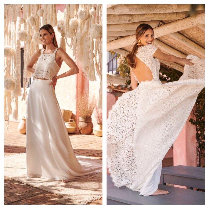 Ensemble de mariée bohème avec crop top ou robe longue dentelle avec un dos nu