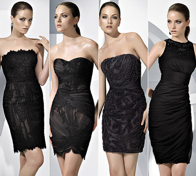 Vestidos de fiesta cortos en color negro, de Pronovias 2011