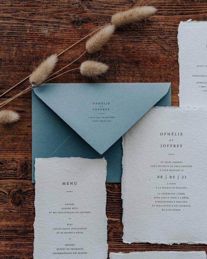 Papeterie menu mariage bleu et blanc