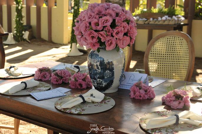 lindo arranjo cor de rosa casamento
