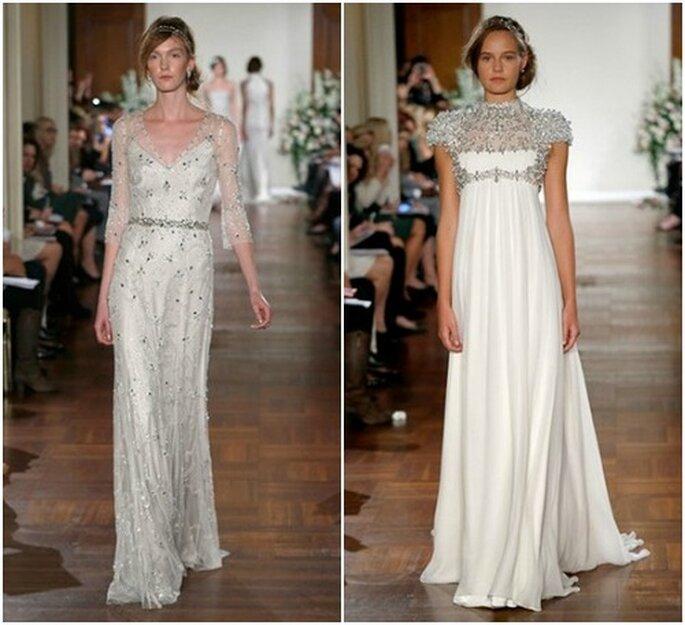 Due modelli impreziositi di cristalli Swarovsky. Jenny Packham Fall 2013 Bridal Collection. Foto: www.jennypackham.com