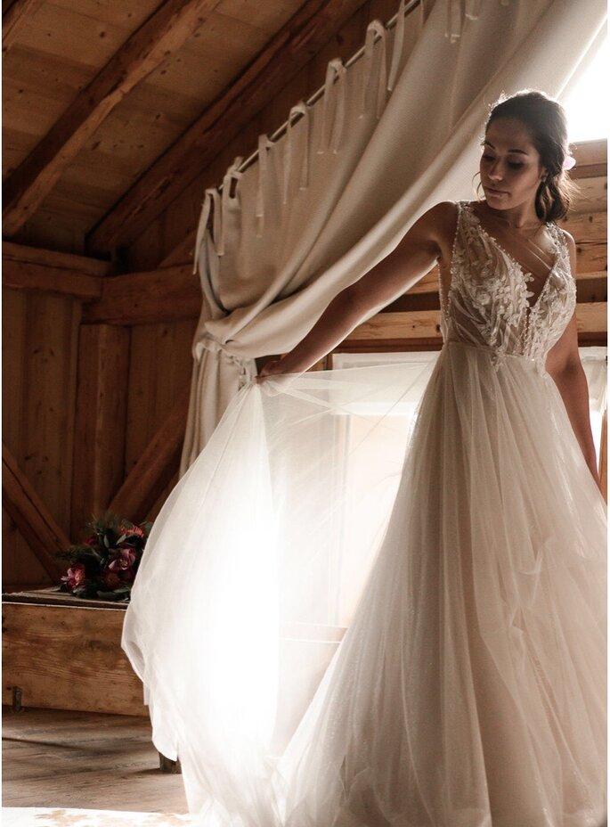 La mariée se prépare dans sa suite au style montagnard