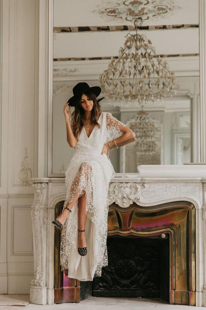 Robe de mariée simple bohème