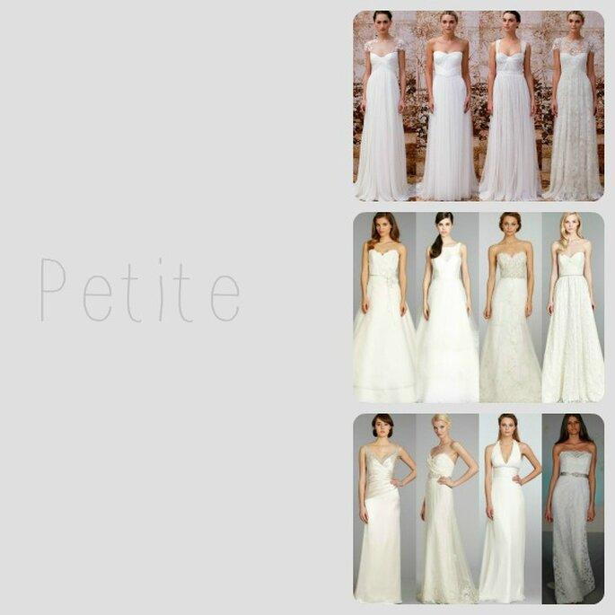 Si tienes un marco petite, elige vestidos de novia corte imperio, de línea A o rectos - Foto Zankyou