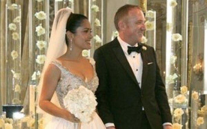 Salma hayek et François-Henri Pinault le jour de la cérémonie de leur mariage