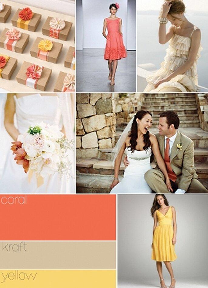 Coral, castanho claro e amarelo - www.projectwedding.com
