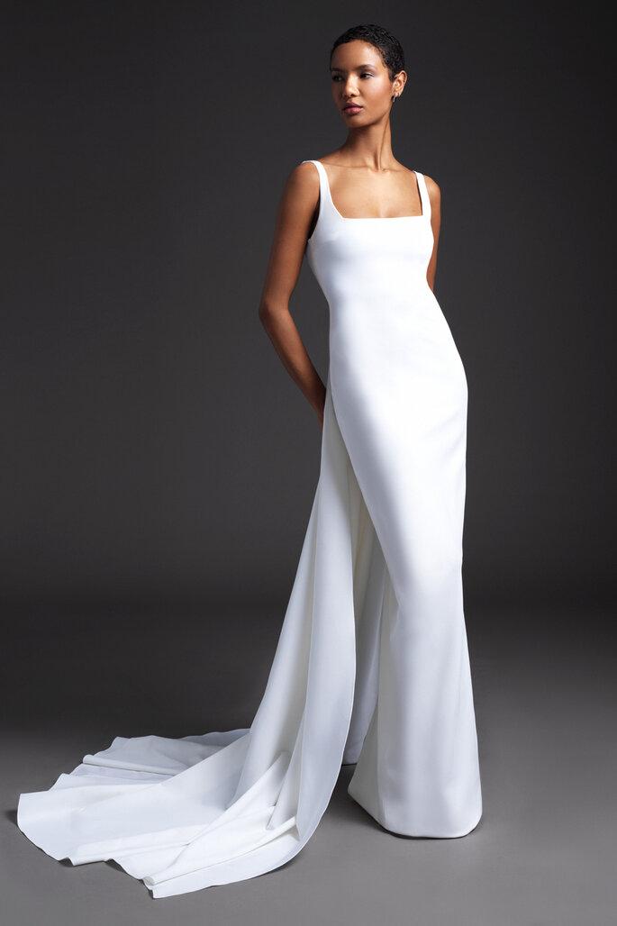 Vestidos de novia escote cuadrado corte sirena con tirantes gruesos