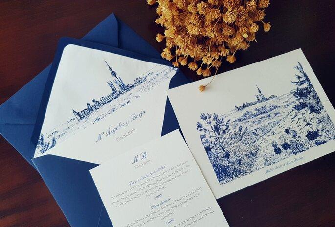 invitaciones de boda azules
