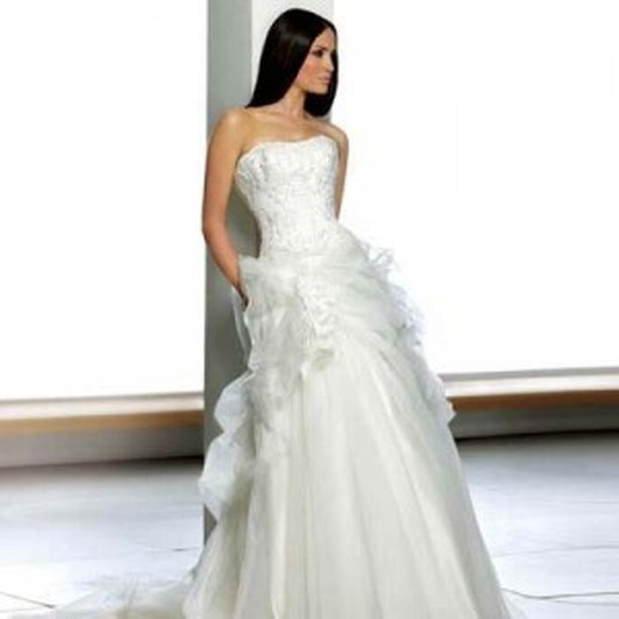 by Berketex Bride, strapless dress and wide skirt with decoration on skirt