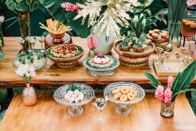 Ilha gastronômica em casamento