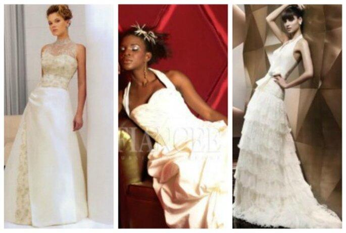 Diferentes vestidos de novia con cuello halter