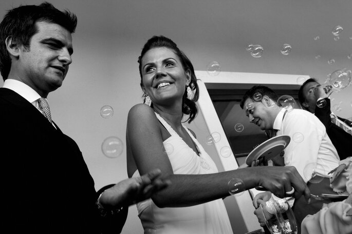 Las burbujas se usan durente diferentes momentos de la ceremonia o de la fiesta. Foto: Nuno Palha