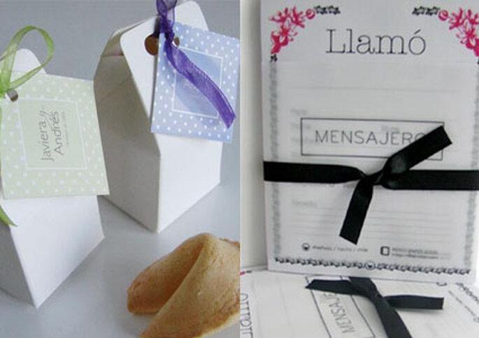 En Indigo puedes encontrar galletas de la fortuna y libretas de mensaje como recuerdos de tu boda.