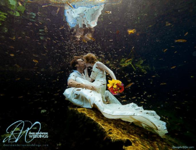 Boda bajo el agua en México. Foto:Dean Sanderson