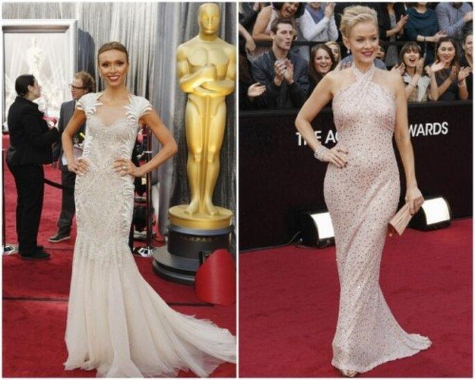 Vestidos blancos en los Oscar 2012. Guliana Rancic y Penelope Ann Miller