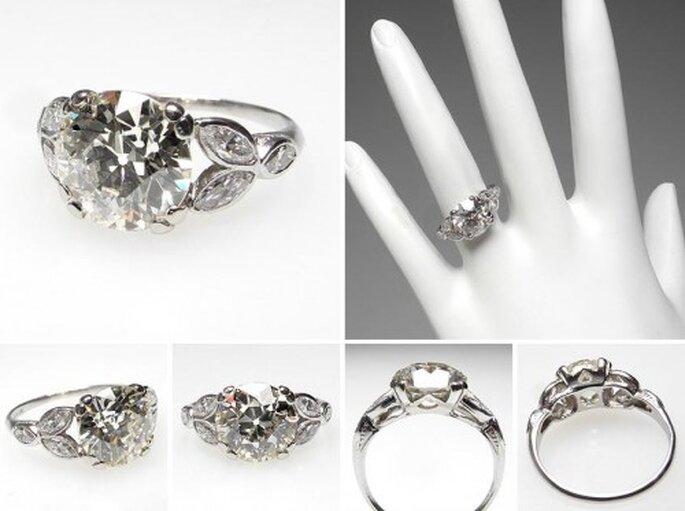 Anillo de compromiso con diamantes estilo europeo - Foto Eragem