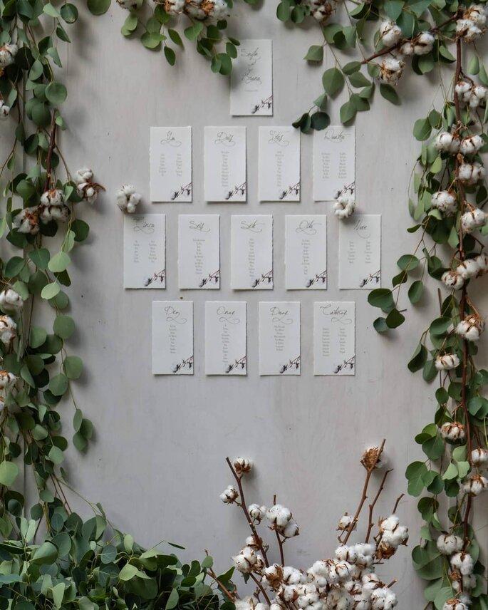 Seating plan decorado com flores
