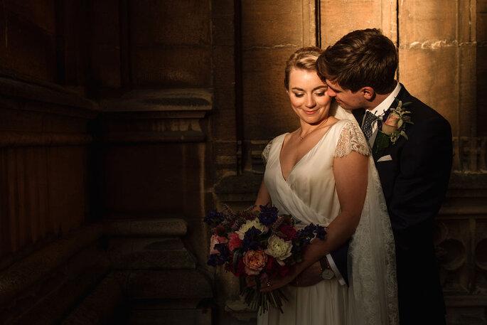 A couple during a wedding photo-shooting.
