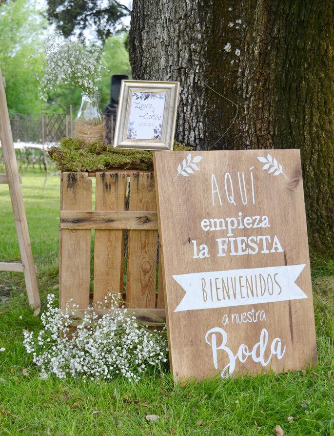 letrero para boda de bienvenida