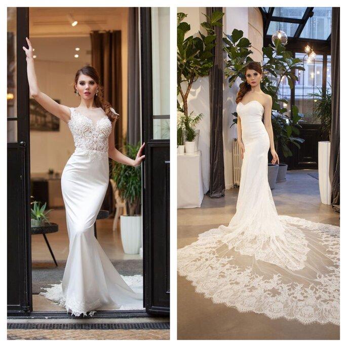 Robes de mariée près du corps, avec une longue traîne
