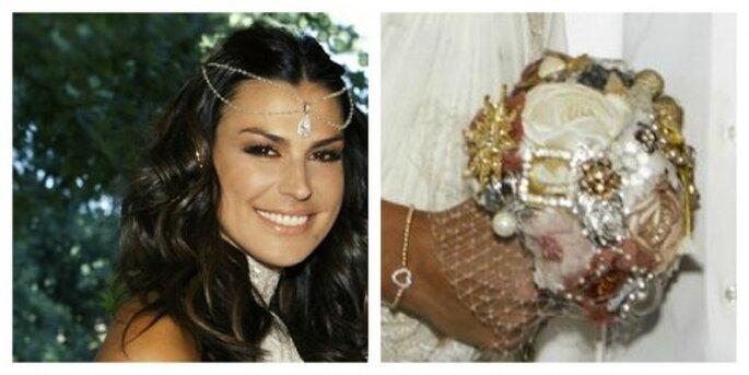 Tocado y buquet de novia de Raquel Perera en su boda con Alejandro Sanz. Foto RLM