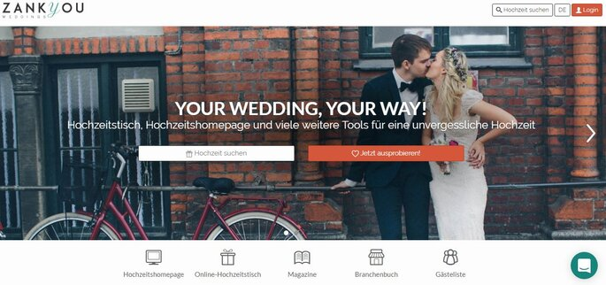 Zankyou Hochzeitshomepage