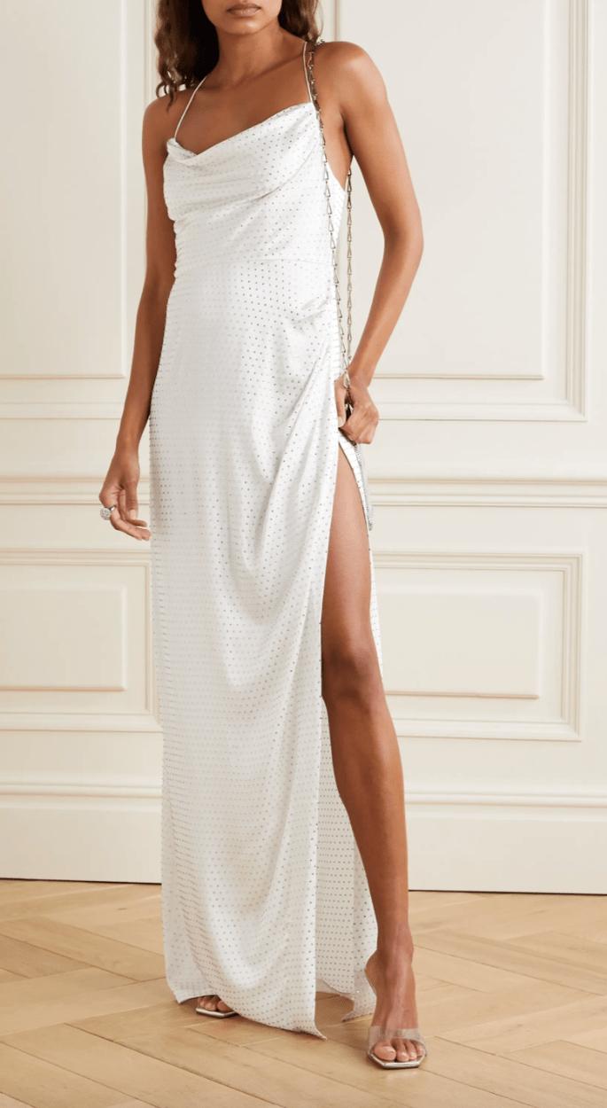 Vestido de novia barato estilo relajado, de tirantes con apertura por la pierna de sat2