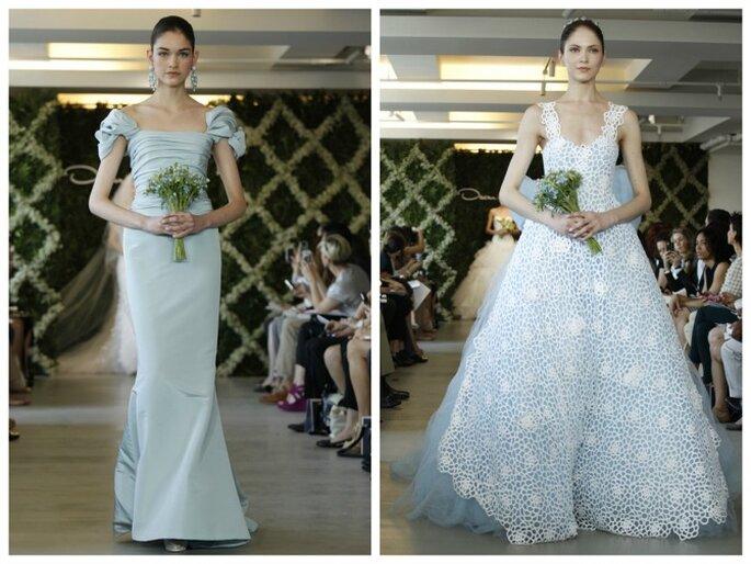 Vestidos de novia Oscar de la Renta 2013 en azul pálido