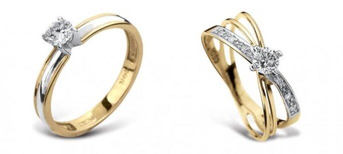 Anillos de compromiso de oro amarillo con diamantes - Foto Guvier joyería y relojería
