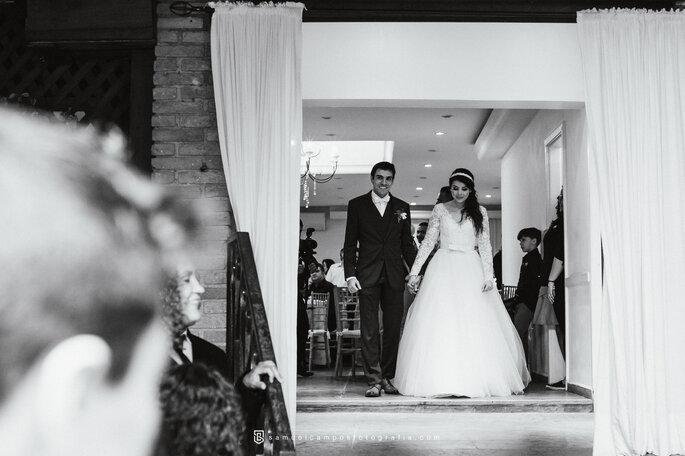 chegada dos noivos na festa