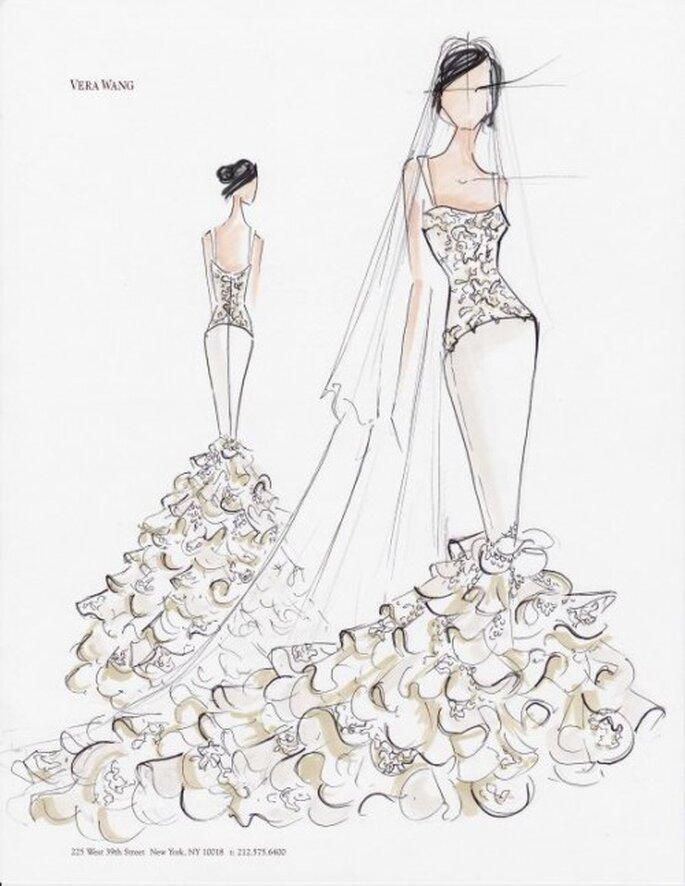 Vestido de novia corte sirena en boceto - Foto Vera Wang Facebook