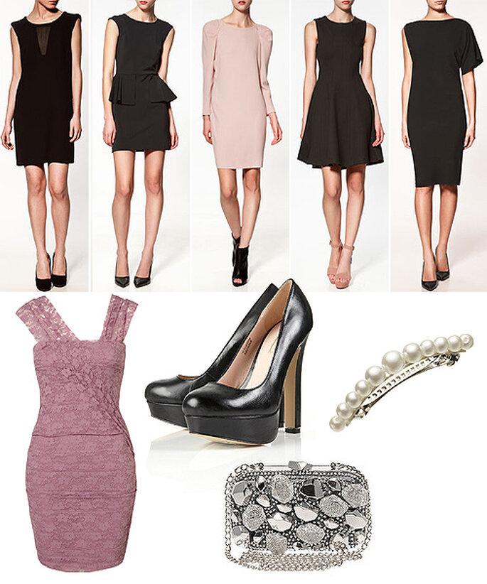 Propuestas en rosa y negro. Vestidos de Zara y Topshop, zapatos de Topshop, clutch-joya de Karen Millen, pasador imitando perlas de Accesorize