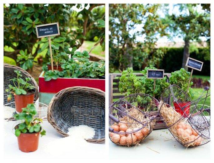 Floreros con especias para animar el ambiente y escapar de las flores tradicionales. Foto: Route Photography