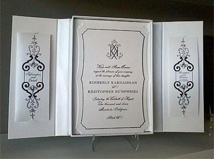 Invitaci n para la boda de Kim Kardashian The couple 39s wedding invitation