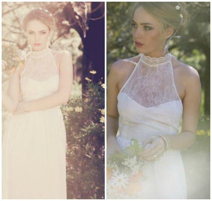 koronkowy dekolt sukni ślubnej