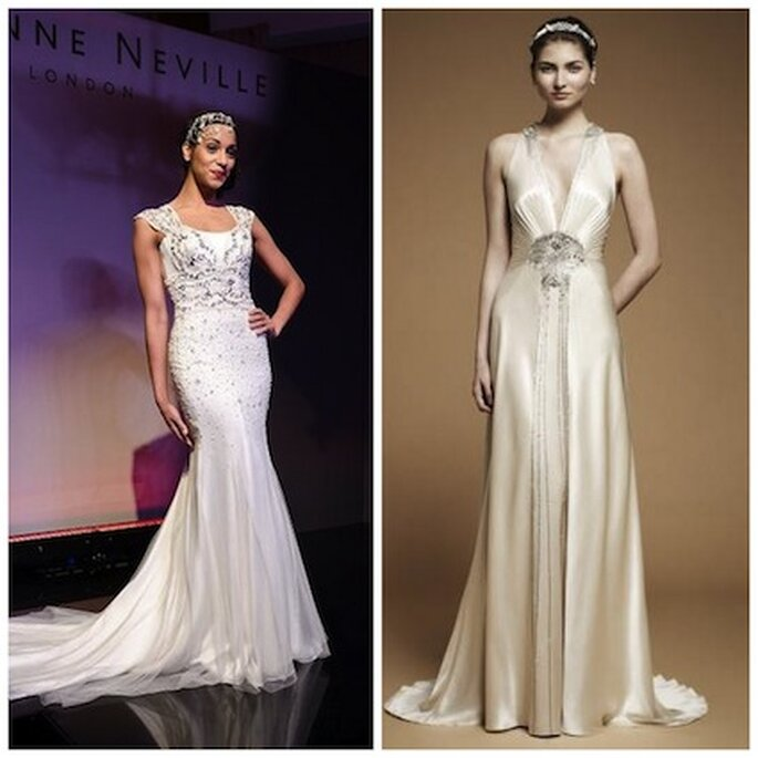 Sinistra: un abito di Suzanne Neville 2012 ©Mike Daines Photography; destra: Imari by Jenny Packham 2012