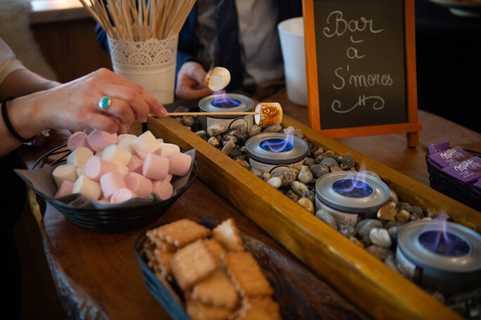 Bar à guimauves pour un mariage à la montagne