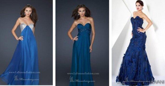 Diferentes opciones en azul para tus vestidos de fiesta. Fotos de La Femme Fashion y Jovani
