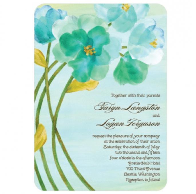Invitación de boda con flores y detalles en color verde esmeralda - Foto Wedding Paper Divas