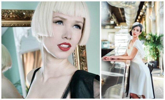 Photo à gauche : Maquillage Marie Laurence Tardy / Photo à droite : Robe Sabrina, Les Mariées Fox