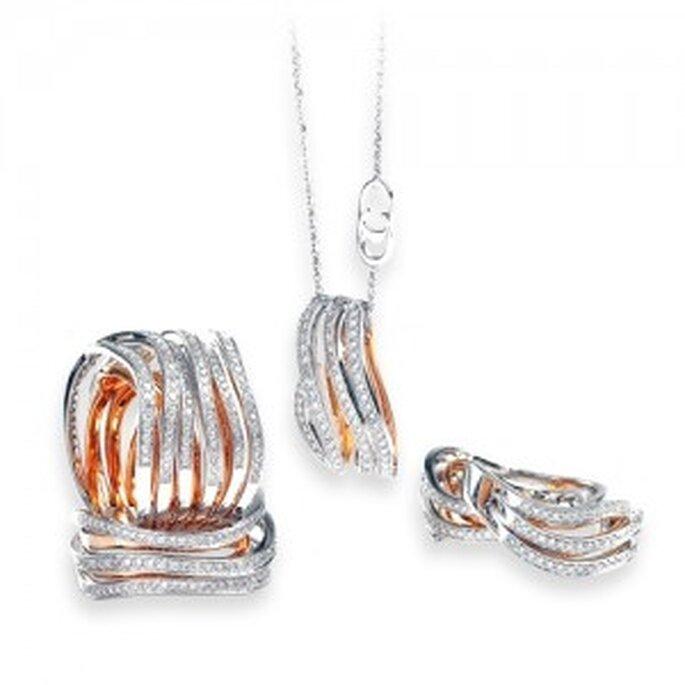 Parure in oro bianco e rosa con diamanti della linea Anima. Foto: www.chimento.it