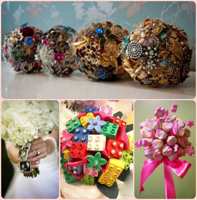 preziosi bouquet con broches antiche, charms fotografici, mattoncini lego e marshmallows