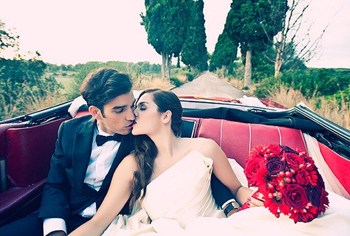 Una boda 'vintage' en colores rojo, negro y blanco. Foto: Punto de Vista