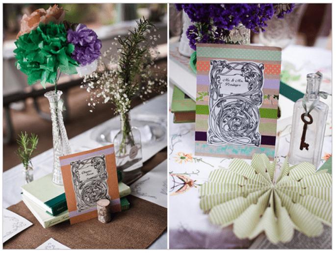 Decoración de boda con libros en los centros de mesa - Foto Kaysha Weiner
